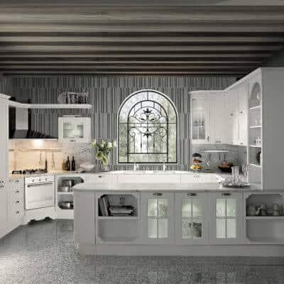 ARAN Imperial G Küche mit Marmor Arbeitsplatte Esche weiß