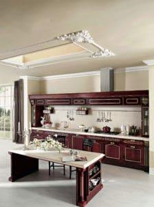 ARAN Imperial Küchenzeile mit Insel Esche Burgunderrot