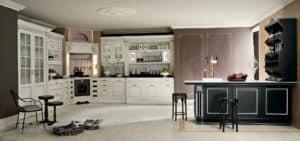 ARAN Imperial L Küche mit Halbinsel weiß anthrazit