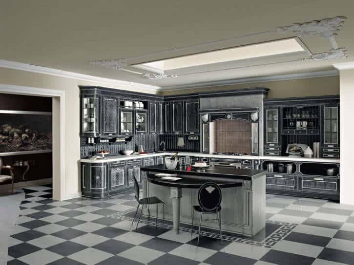 ARAN Imperial L Küche mit Insel und Wandschrank Esche grau
