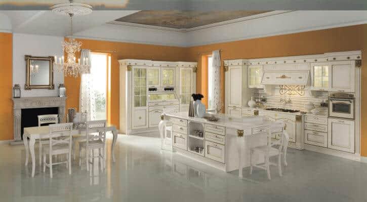 ARAN Küche Imperial große Inselküche klassisch aus weißem Echtholz