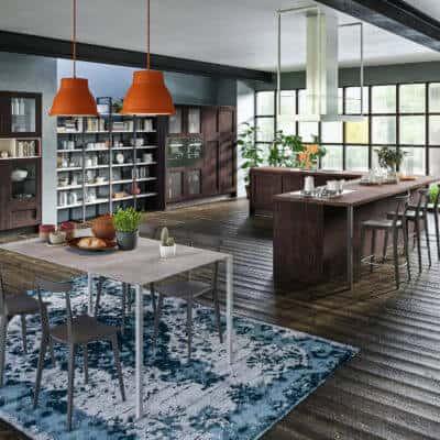 ARAN Licia Inselküche in L Form mit Wandschrank dunkle Eiche
