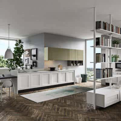 ARAN Licia Küchenzeile mit integriertem Esstisch Eiche weiß olivgrün