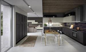 ARAN Licia große L Küche in Eiche anthrazitgrau und weiß