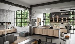 ARAN Licia moderne Kücheninsel mit Halbinsel Eiche