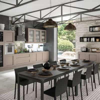 ARAN Licia moderne Küchenzeile mit Sideboard Eiche Nerz
