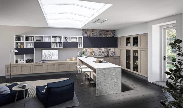 ARAN Licia moderne L Küche mit Wandschrank Eiche Dust