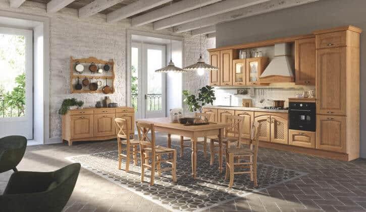 ARAN Trevi Küchenzeile mit Sideboard im Landhausstil Kastanie