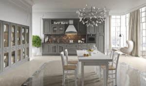 ARAN Trevi Küchenzeile mit Wandschrank im Landhausstil Kastanie grau