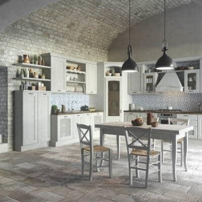 ARAN Trevi L Küche im Landhausstil Kastanie weiß