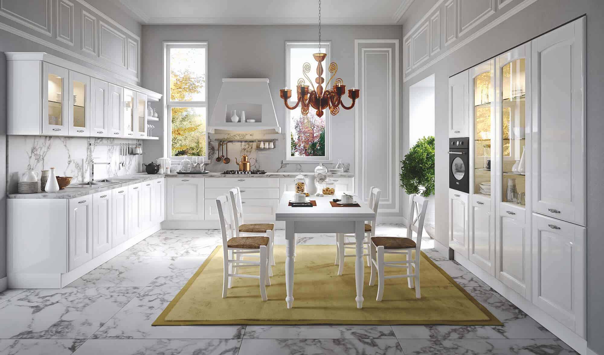 ARAN Trevi L Küche mit Wandschrank Kastanie glänzend weiß