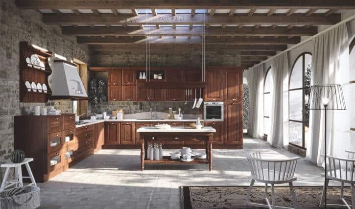 ARAN Trevi große L Küche im Landhausstil Kastanie Walnuss