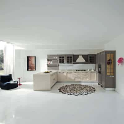 ARAN Ylenia U Küche im Landhausstil Esche Beige und Nerz