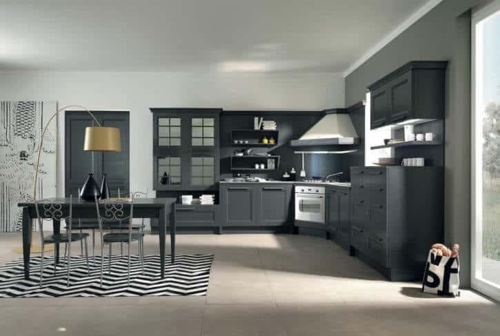 ARAN Ylenia große L Küche Esche anthrazitgrau