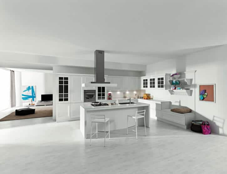 ARAN Ylenia große L Küche mit Insel Esche weiß