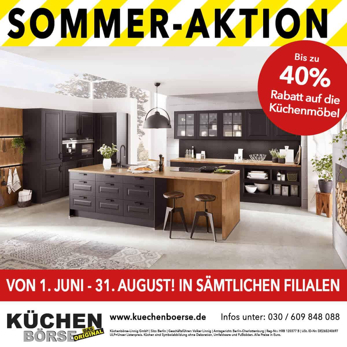 Sommer-Aktion bis zu 40% auf Küchenmöbel