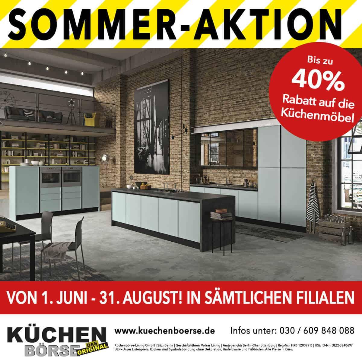 Sommer-Aktion bis zu 40% auf Küchenmöbel - Küchenbörse Berlin