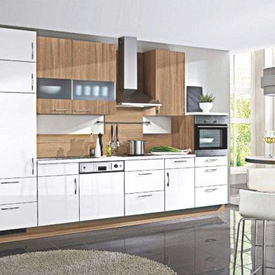 Küchenzeile Weiß Hochglanz Eiche 33