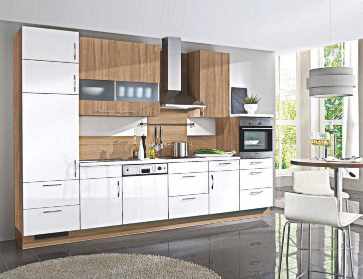 Küchenzeile Weiß Hochglanz Eiche 1