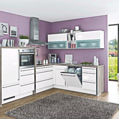 Weiße Beton L Küche 17
