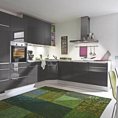 Dunkelgraue moderne L Küche 29