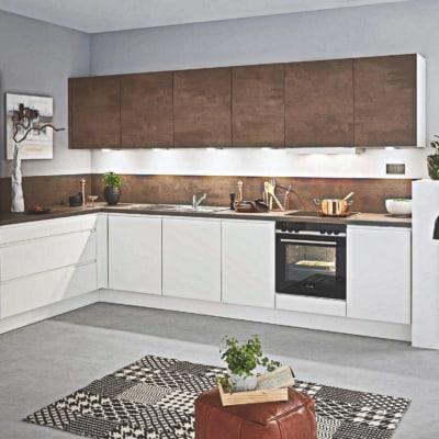 Grifflos Weiß Rost L Küche 13