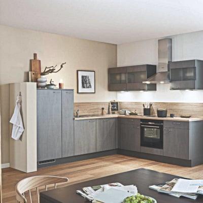 Klassische L Küche Grauer Lack 35
