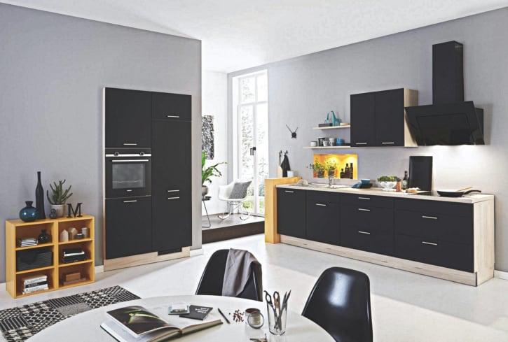 L Küche schwarz seidenmatt 1