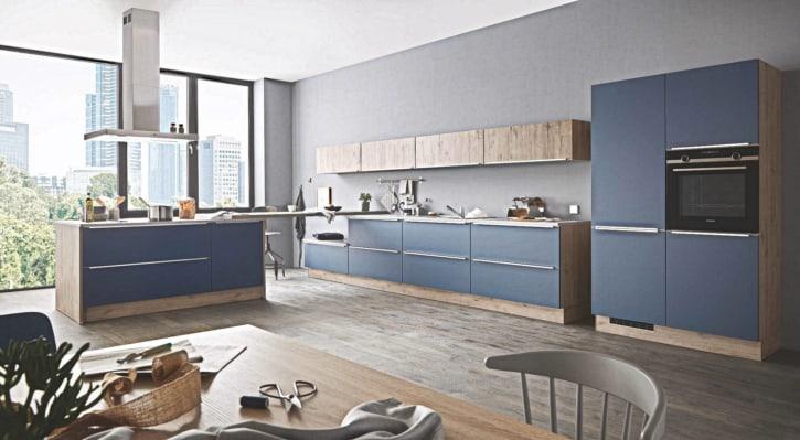 Große L Insel Küche blau Lack matt 1