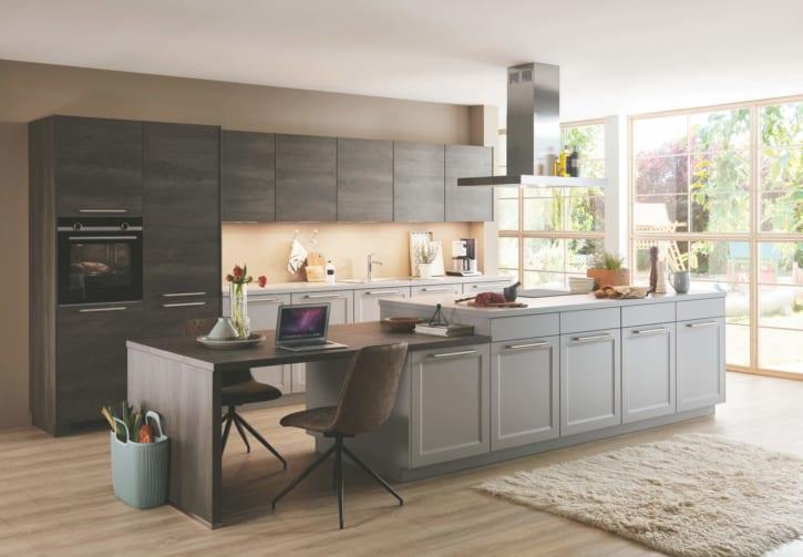 Moderne Steingraue Nobilia Landhausküche 1