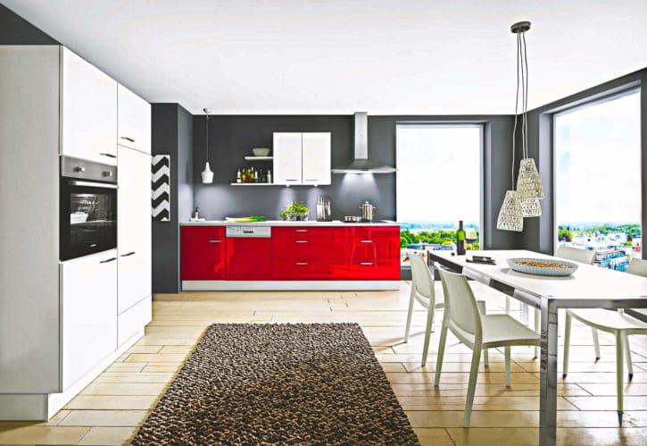 Rote Lack Küche Hochglanz 1
