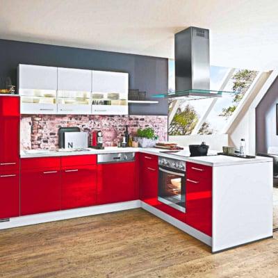 L Küche Lack Rot Hochglanz 13