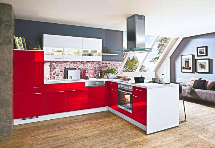 L Küche Lack Rot Hochglanz 1