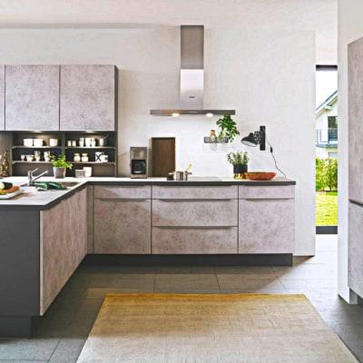 U Küche schiefergrau Inselküche 9