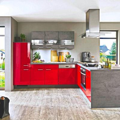 Moderne L Küche rot Lack 19