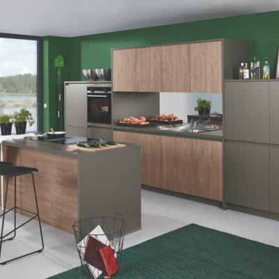 Bauformat Elegante Matt Quarzgraue Toffee Küchenzeile mit Mittelinsel 9