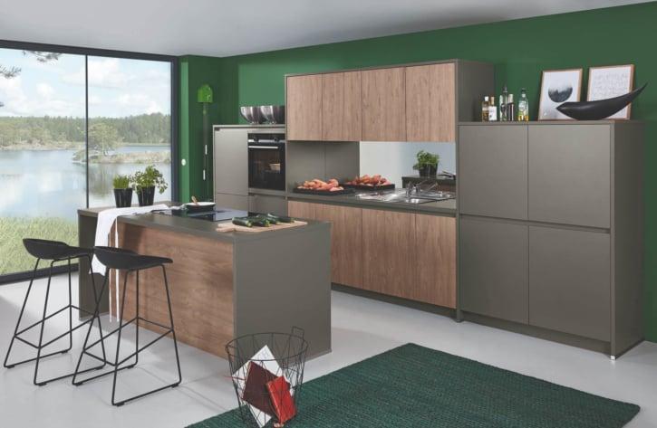 Bauformat Elegante Matt Quarzgraue Toffee Küchenzeile mit Mittelinsel 1
