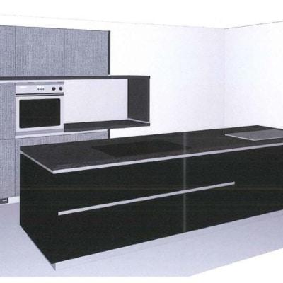 Bauformat Inselküche Schwarz Seidenmatt Lack Spigato 35