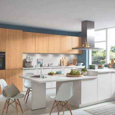 Bauformat Küche mit Mittelinsel Moonlight Grey 73