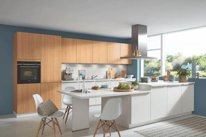 Bauformat Küche mit Mittelinsel Moonlight Grey 1