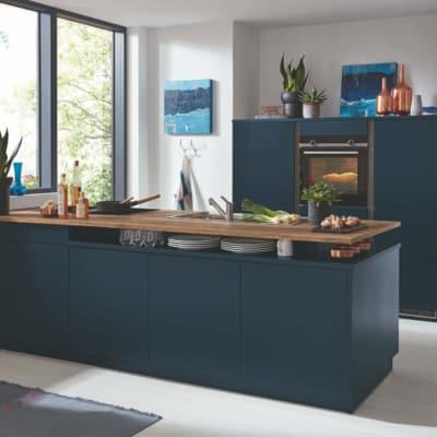 Bauformat Navy Seidengrau Küchenzeile mit Mittelinsel 33
