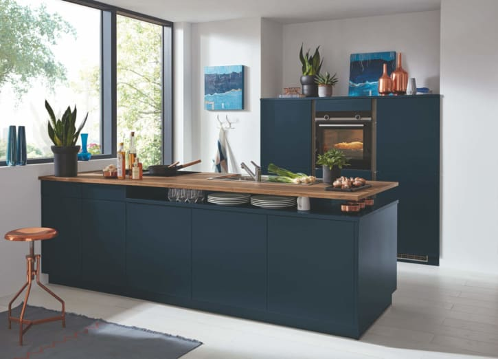 Bauformat Navy Seidengrau Küchenzeile mit Mittelinsel 1