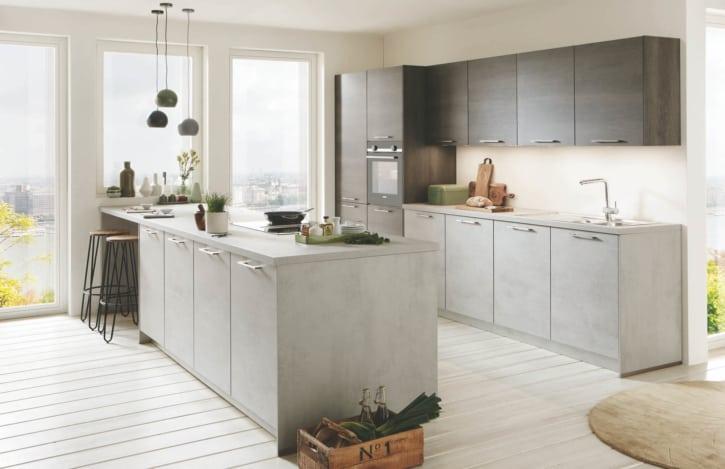 Betongraue Nobilia Inselküche mit Küchenzeile 1