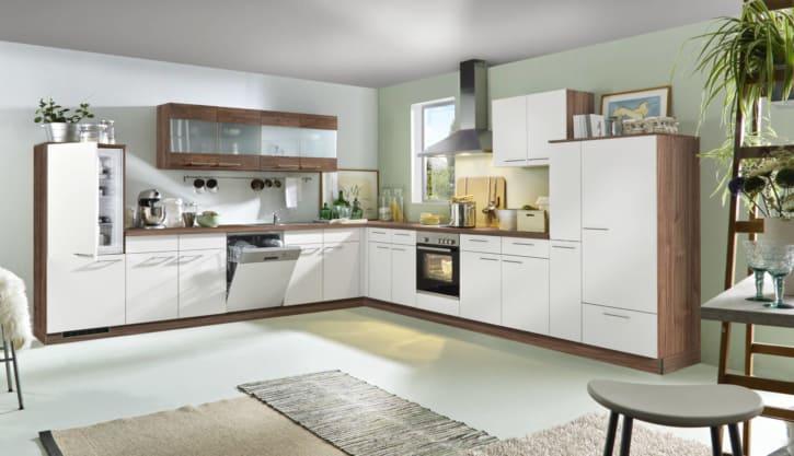 Große L Küche Holz weiß 1