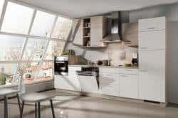 Kleine Küchenzeile Weiß Helle Eiche 11