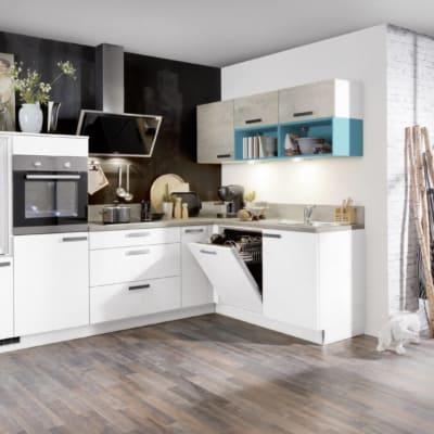 Kleine L Küche Weiß Beton 11