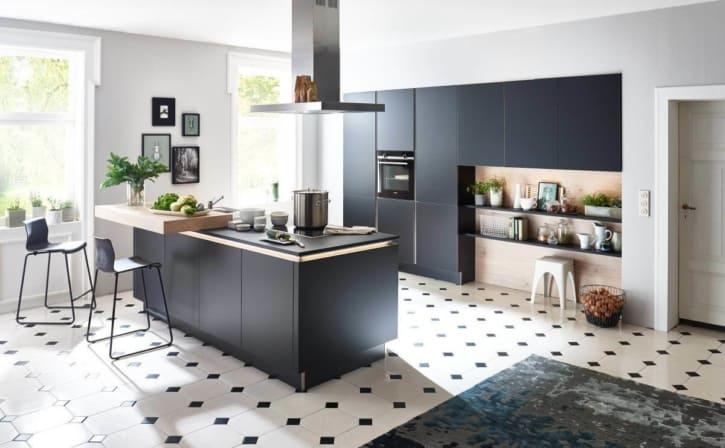 Nolte Flair Küche - Schwarz Edelstahl und Mittelinsel 1