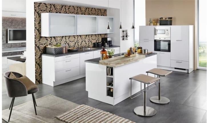 Große Küche Polarweiß Hochglanz mit Mittelinsel 1