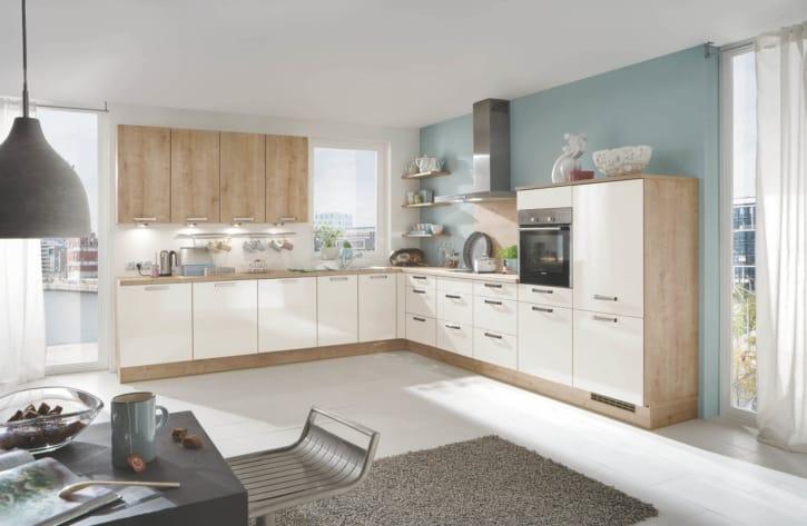 Große L Küche Magnolie Eiche 1