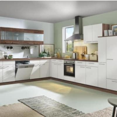 Große L Küche Weiß Nussbaum 26